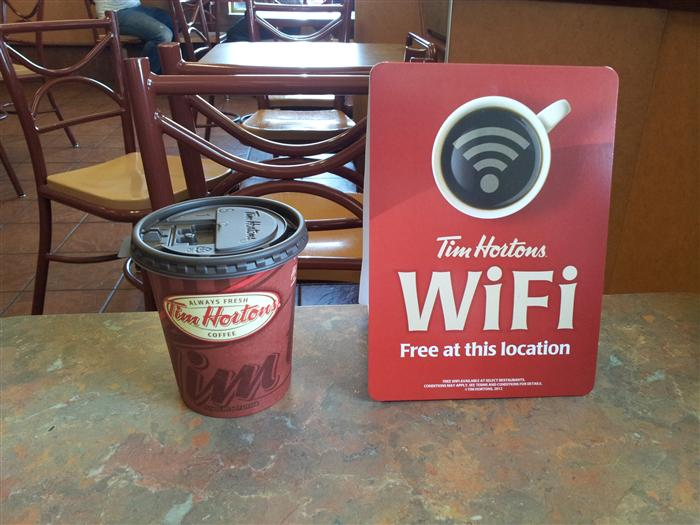 Tim Horton's free Wifi sign