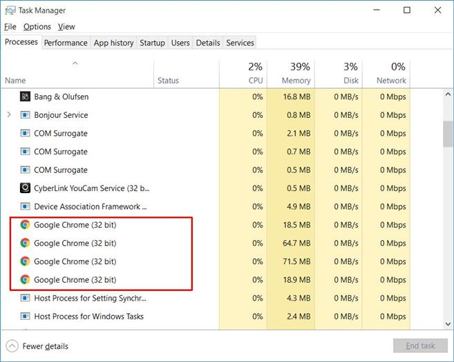 Step 1: Close all instances of Chrome including open instances in task manager